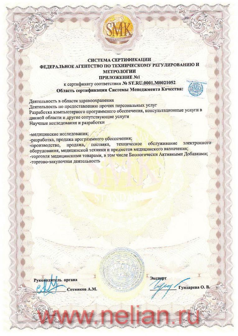 Приложение к Сертификату соответствия СМК-Стандарт